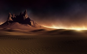 dune, desert, dark, clouds, nature, sand