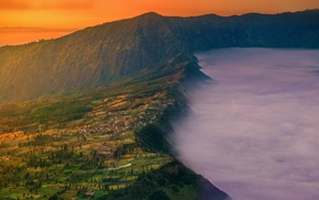 sunset, mountain, landscape, village, Mount Bromo, nature
