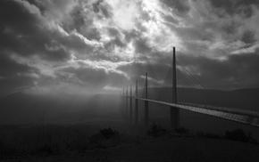 France, daylight, monochrome, mist, landscape, sun rays
