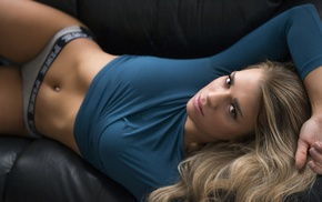 Eric Snyder, couch, girl, blonde, sensual gaze, underwear