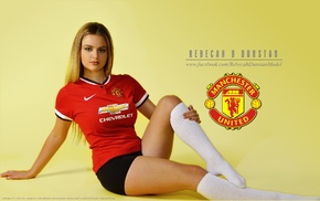 Manchester United, booty shorts, simple background, girl, model, soccer clubs