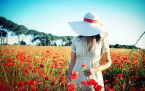 flowers, hat, model, girl outdoors, girl, field