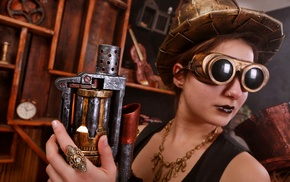 girl with glasses, girl, steampunk, model