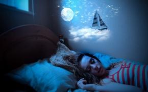 girl, sleeping, fantasy art