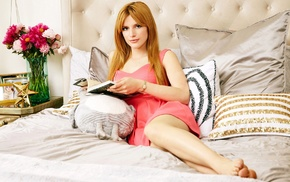 barefoot, in bed, girl, pink dress, redhead, Bella Thorne