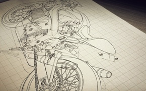 drawing, motorcycle, classic art