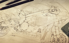classic art, drawing, motorcycle