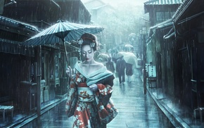 Japanese umbrella, umbrella, dress, street, kimono, artwork