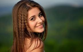 girl outdoors, portrait, long hair, nature, depth of field, brunette