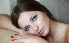 daria konovalova, hand, blue eyes, makeup, model, brunette