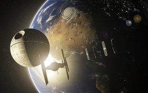 Earth, Star Wars, TIE Fighter, Death Star, planet, space