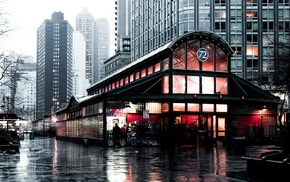 rain, classic art, dark, subway, city, New York City