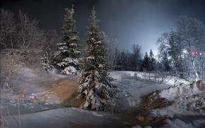 winter, night, trees, snow, landscape, ice