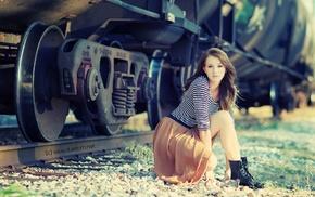 girl outdoors, train, railway