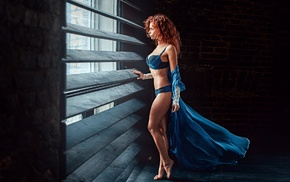 redhead, bricks, Brick, side view, Georgiy Chernyadyev, wooden surface