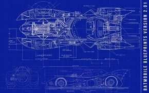 vehicle, Batman, Batmobile, blueprints, sketches, car