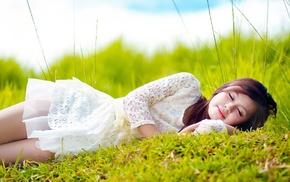 white dress, brunette, Asian, long hair, field, sleeping