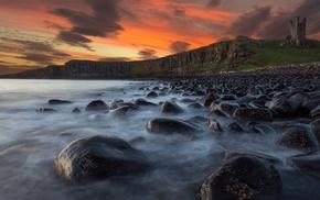 ruins, ruin, stones, sunset, landscape, cliff