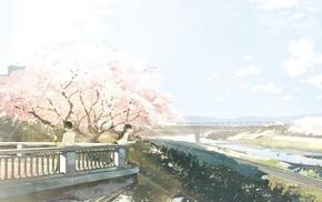 anime, bridge, cherry blossom, original characters, river