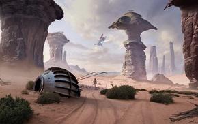 Star Wars, landscape, spaceship