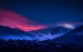 mist, snowy peak, trees, sky, forest, landscape
