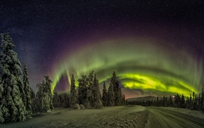 road, aurorae, nature, landscape, starry night, Finland