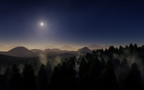moon, mountain, mist, landscape, forest, nature