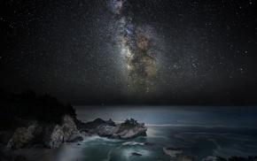 galaxy, beach, landscape, sky, Milky Way, sea