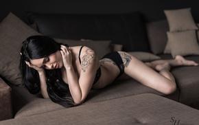 black hair, lingerie, Stephan Hainzl, closed eyes, black lingerie, model