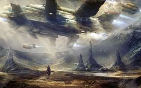 clouds, horse, futuristic, ship, mountain, fantasy art