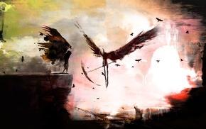 scythe, fantasy art, dark, death, wings