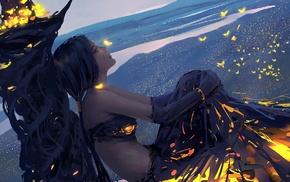 fantasy art, fire, girl, WLOP, dress, landscape