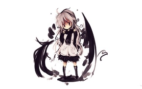 white background, chibi, wings, original characters, white hair