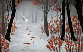 snow, blood, white, fantasy art, deer