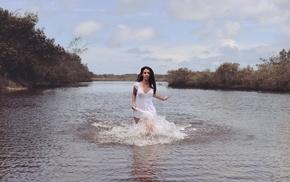girl outdoors, river, nature, model, girl