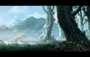 San, Mononoke, Moro, anime, Studio Ghibli, landscape