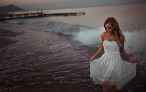 smiling, beach, waves, Ivan Gorokhov, sea, blonde