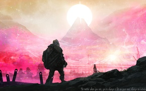 mountain, Sun, Journey game, quote, time travel, space