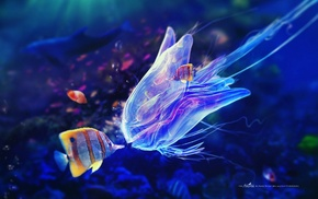 fish, digital art, Adam Spizak, kissing, underwater