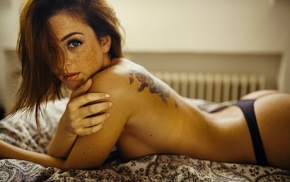 redhead, topless, Andr Josselin, bed, freckles, girl