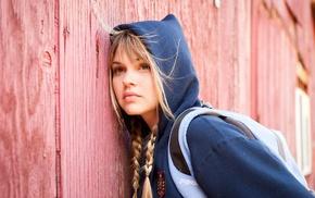 Aimee Teegarden, braids, looking away, model, backpacks, juicy lips