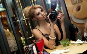 blonde, self shots, rose, girl, model, drink