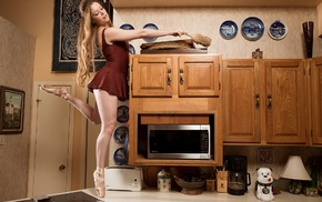 Microwave, looking down, minidress, open mouth, wood, bare shoulders