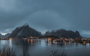 mountain, Lofoten, panorama, landscape, Norway, lake