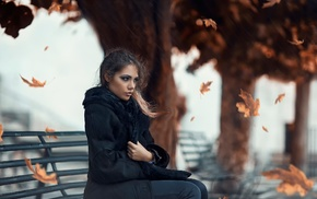 fall, girl, leaves, Alessandro Di Cicco, bench, girl outdoors