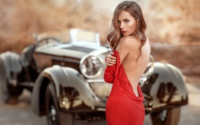 red dress, hazel eyes, model, Vintage car, depth of field, wavy hair