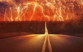 thunder, storm, digital art, lightning, road