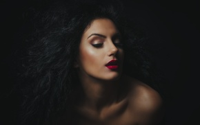 makeup, wavy hair, black hair, bare shoulders, open mouth, girl