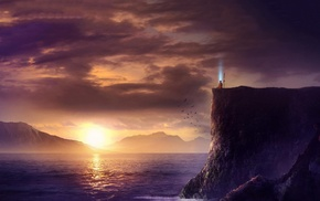 sea, hill, Monk, fantasy art, monks, meditation