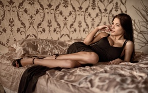 Marina Shimkovich, lying down, girl, dress, boobs, in bed